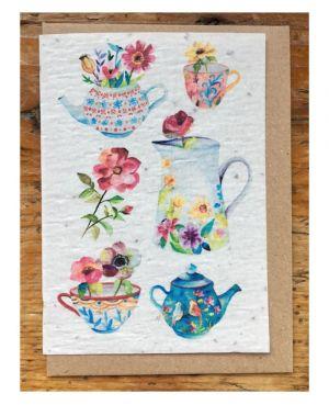 Vases théière fleurs des champs